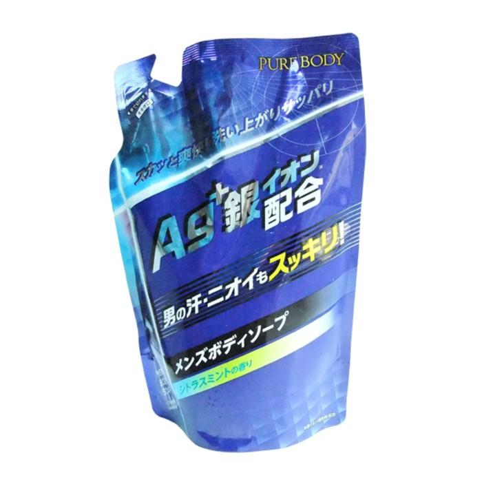 Дезодорирующий мужской гель для душа Mitsuei Pure Body с микрочастицами серебра с ароматом цитруса и мяты, дойпак, 400 мл