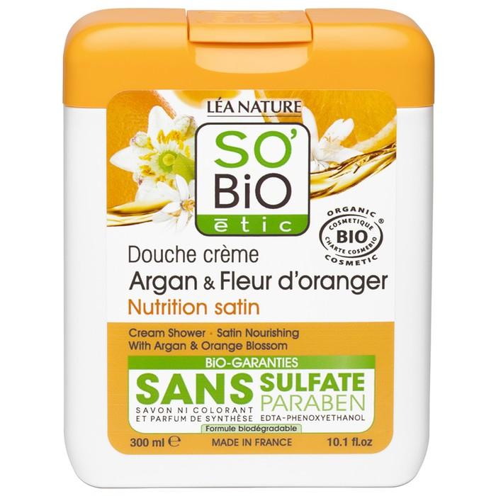 """Крем для душа SO'BiO etic с аргановым маслом и цветками апельсина """"Атласный уход"""", 300 мл"""