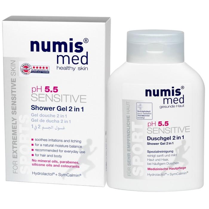 """Гель для душа Numis Med 2 в 1 Спорт """"Sensitive pH5,5"""",  200 мл"""