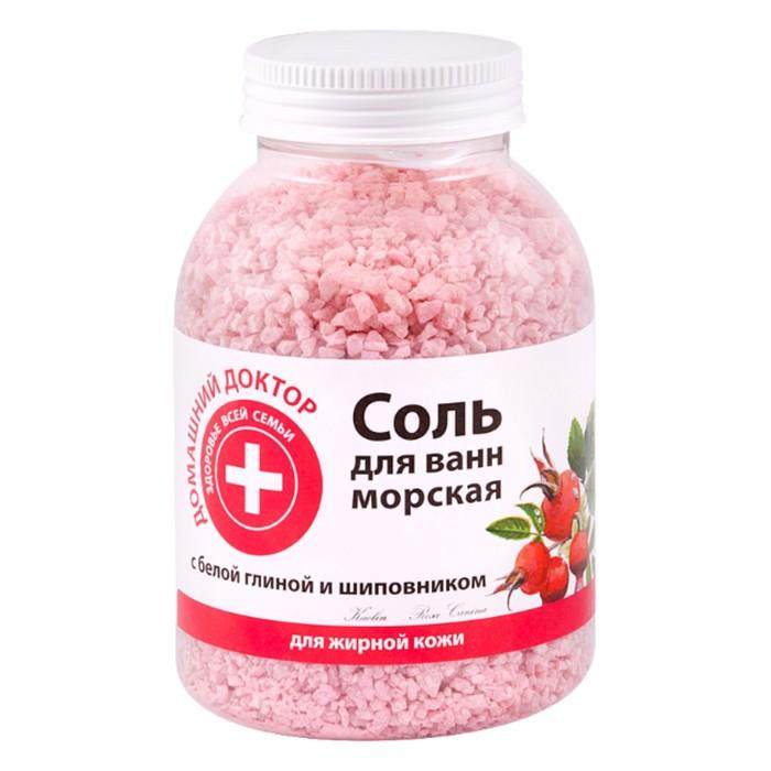 Соль для ванн Домашний доктор, с белой глиной и шиповником, 1000 г