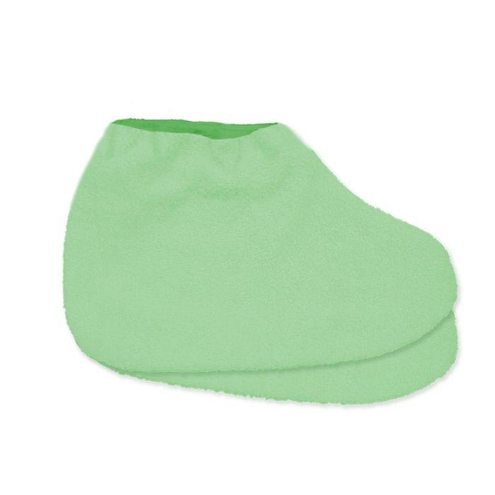 Носки для парафинотерапии JessNail, махровые светло-зелёные/зелёные, пара