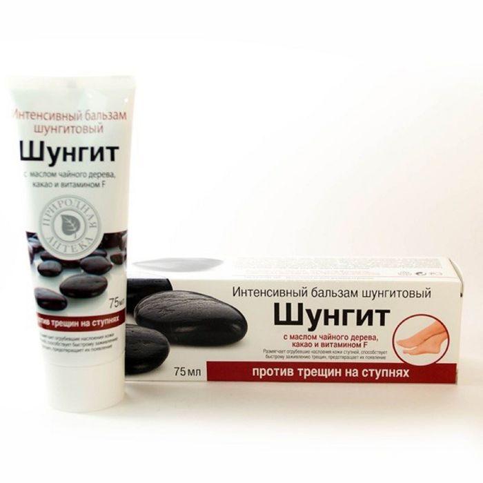 Бальзам против трещин на ступнях Природная аптека Интенсивный протеин Шунгитовый , 75 мл