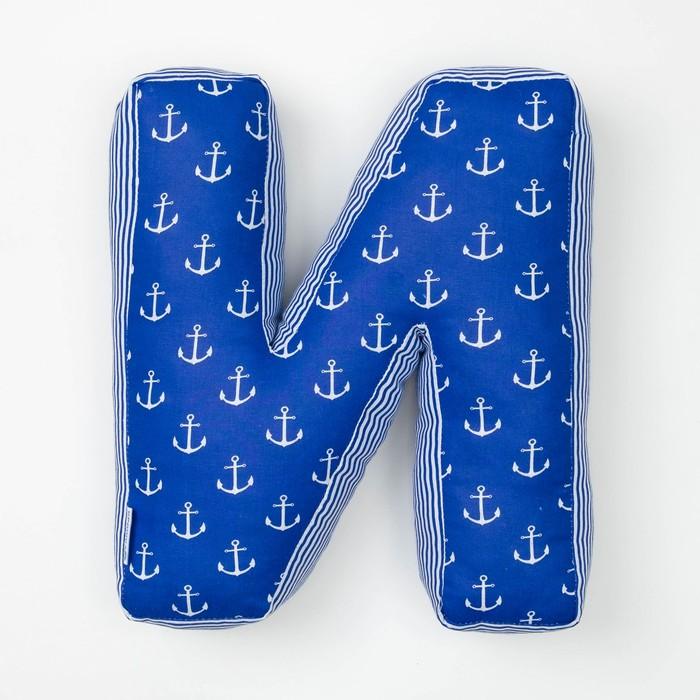 "Мягкая буква подушка ""И"" 35х30 см, синий, 100% хлопок, холлофайбер"