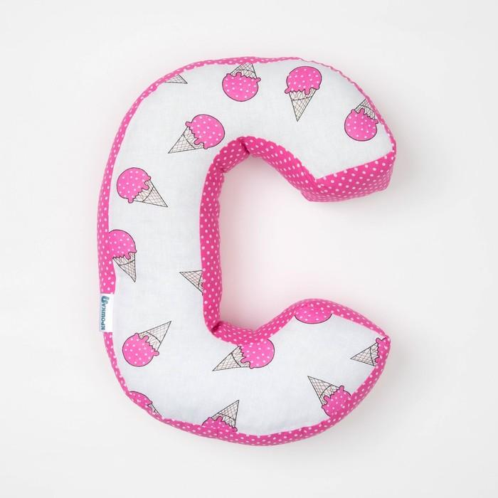 "Мягкая буква подушка ""С"" 35х26 см, розовый, 100% хлопок, холлофайбер"