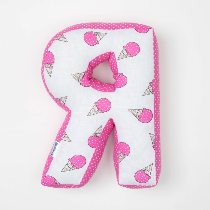 "Мягкая буква подушка ""Я"" 35х26 см, розовый, 100% хлопок, холлофайбер"