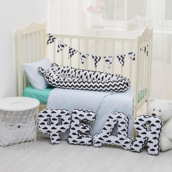 """Мягкая буква подушка """"Е"""" 35х25 см, белый, 100% хлопок, холлофайбер"""