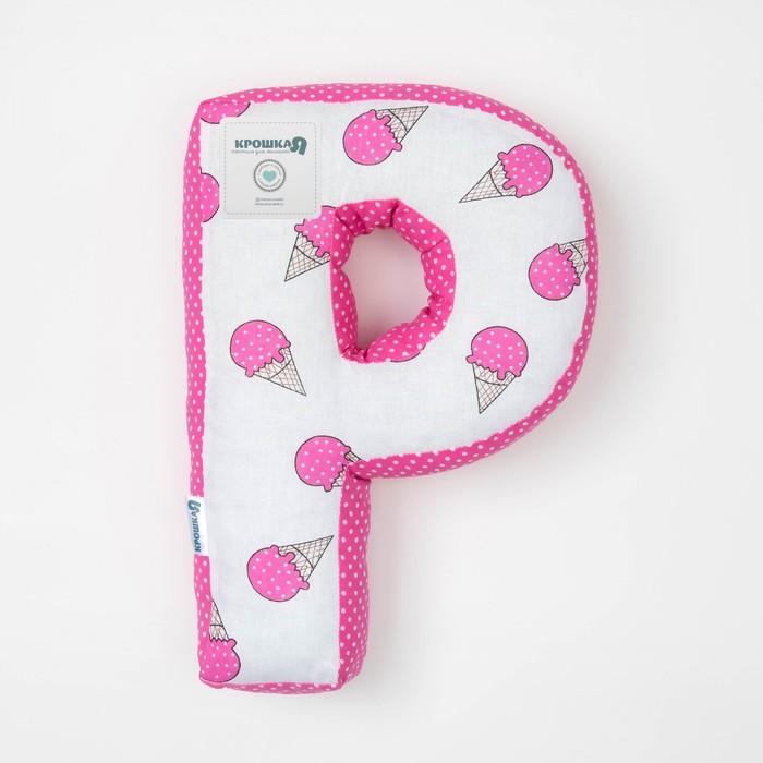 "Мягкая буква подушка ""Р"" 35х25 см, розовый, 100% хлопок, холлофайбер"