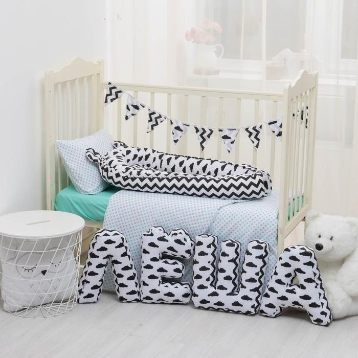 """Мягкая буква подушка """"Ш"""" 35х22 см, белый, 100% хлопок, холлофайбер"""