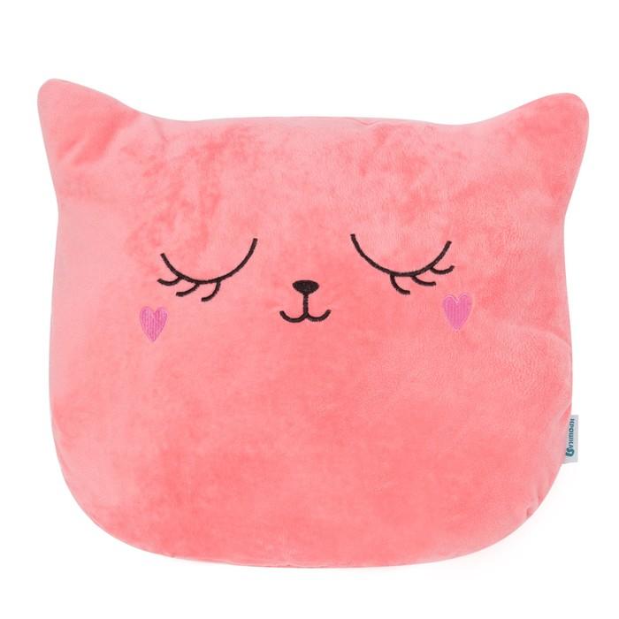 """Подушка """"Крошка Я"""" Кошка розовая 48х38см, велюр, 100% п/э"""