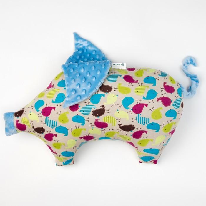 Подушка Крошка Я 45×30 см, цв. голубой, хлопок/полиэстер
