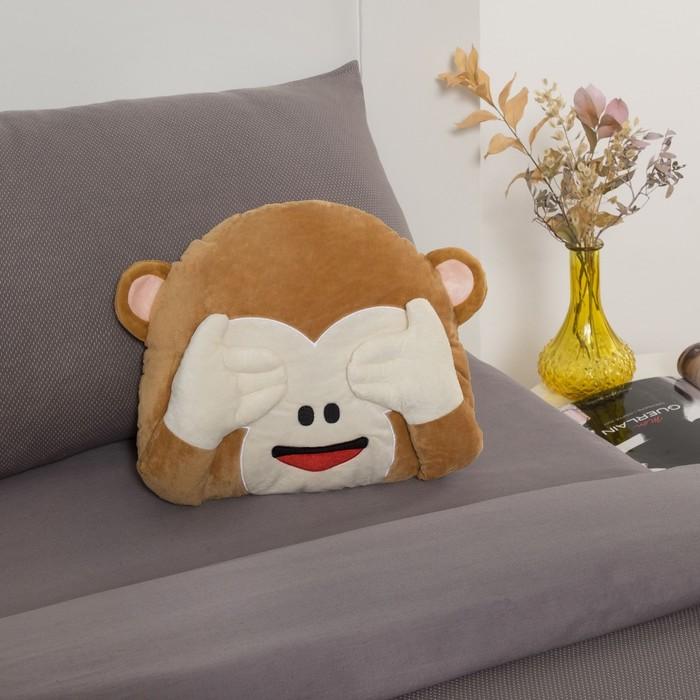 Подушка декоративная Смайл обезьянка, 30х30, холлофил, п/э