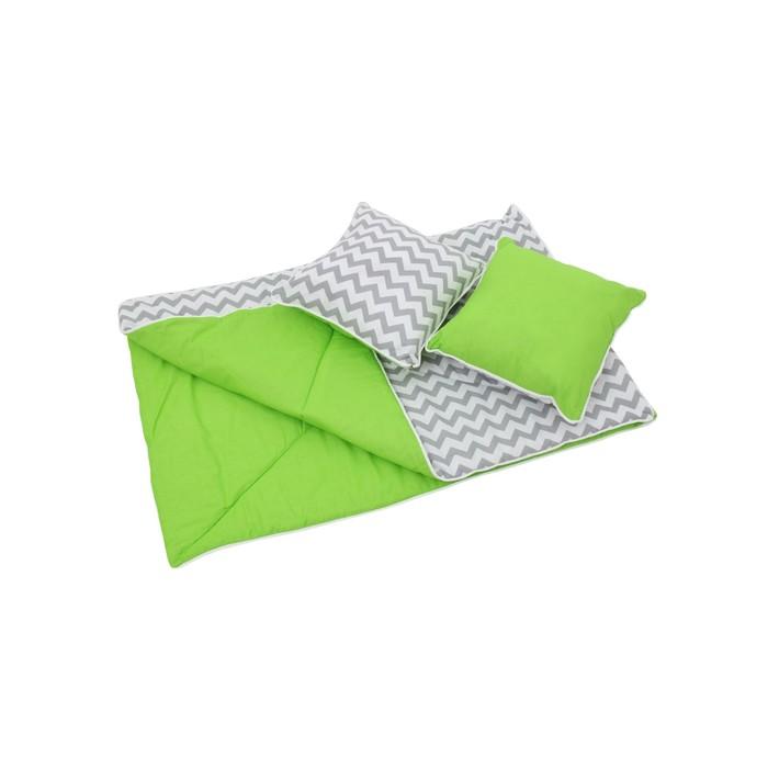 Комплект для вигвама: одеяло-110х140 см, наволочка-40х40 см-2 шт, зелёный, зигзаг