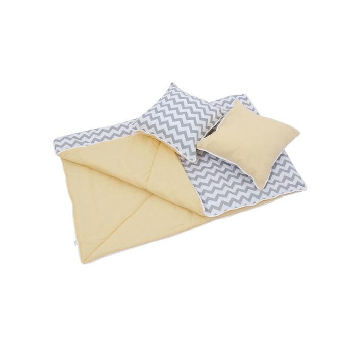 Комплект для вигвама: одеяло-110х140 см, наволочка-40х40 см-2 шт, жёлтый, зигзаг