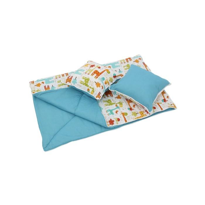 Комплект для вигвама: одеяло-110х140 см, наволочка-40х40 см-2 шт, голубой, жираф
