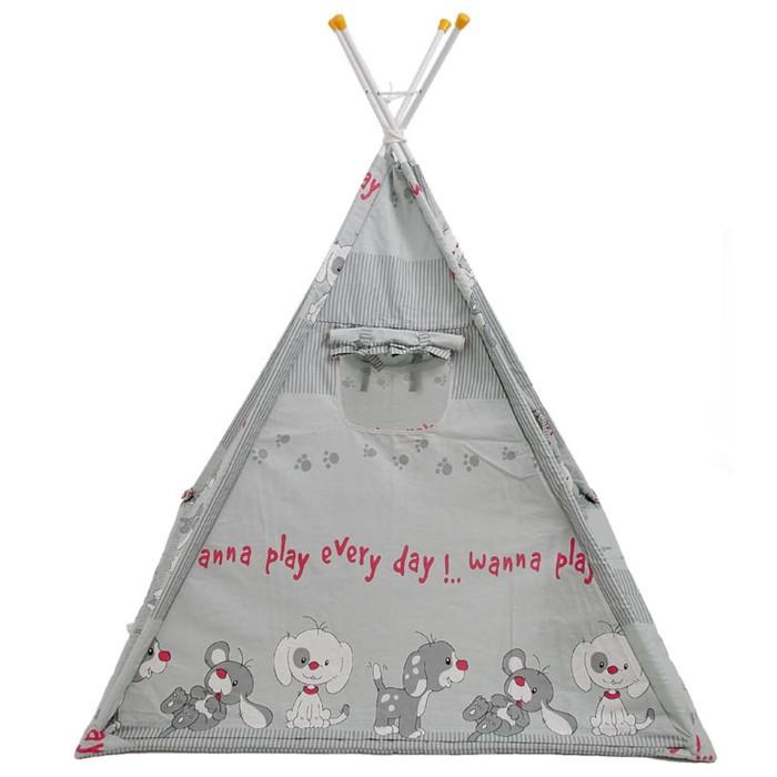 Вигвам «Весёлая игра», размер 130х130 см, высота 147 см, серый