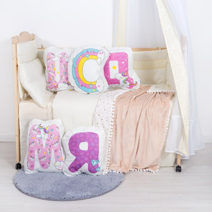 """Подушка """"Крошка Я"""" М, 40х50 см, розовый, велюр, 100% п/э"""