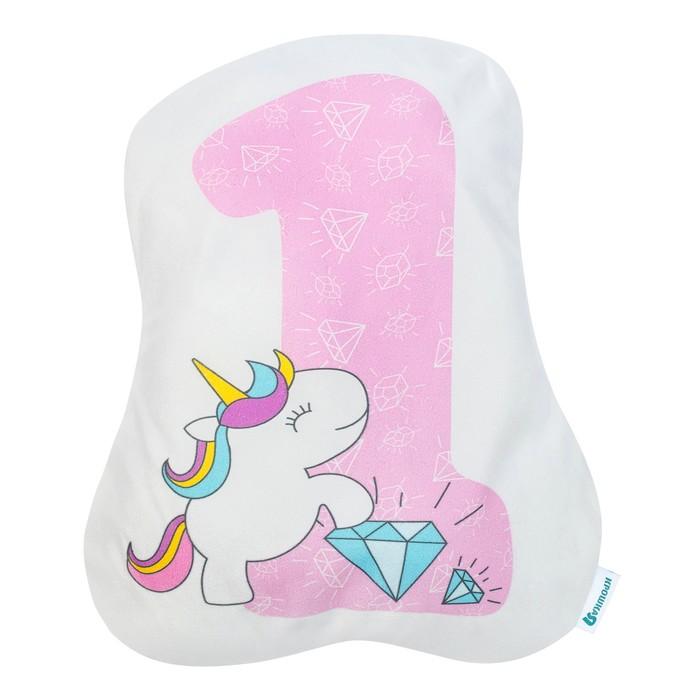 """Подушка """"Крошка Я"""" 1, 40х33 см, розовый, велюр, 100% п/э"""