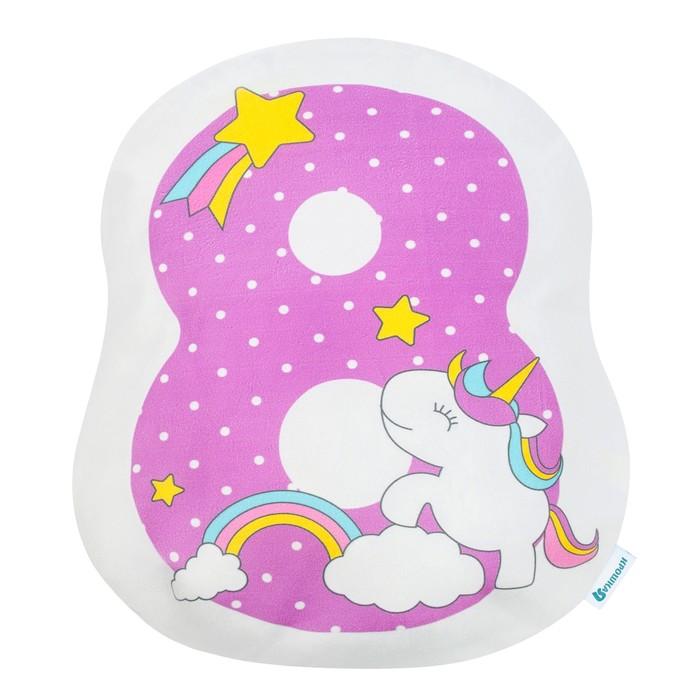 Подушка Крошка Я «8», 40 × 36 см, цвет фиолетовый, велюр, 100 % п/э