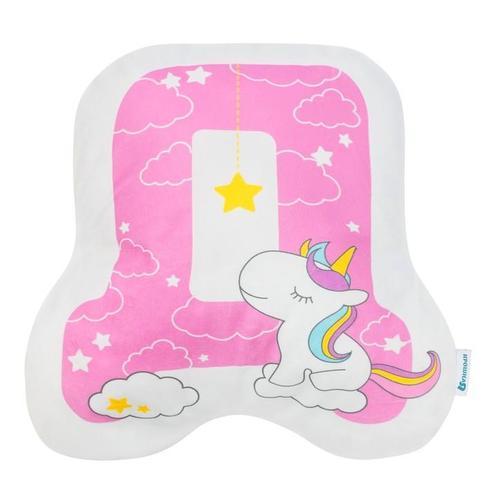 """Подушка """"Крошка Я"""" Д, 45х43 см, розовый, велюр, 100% п/э"""