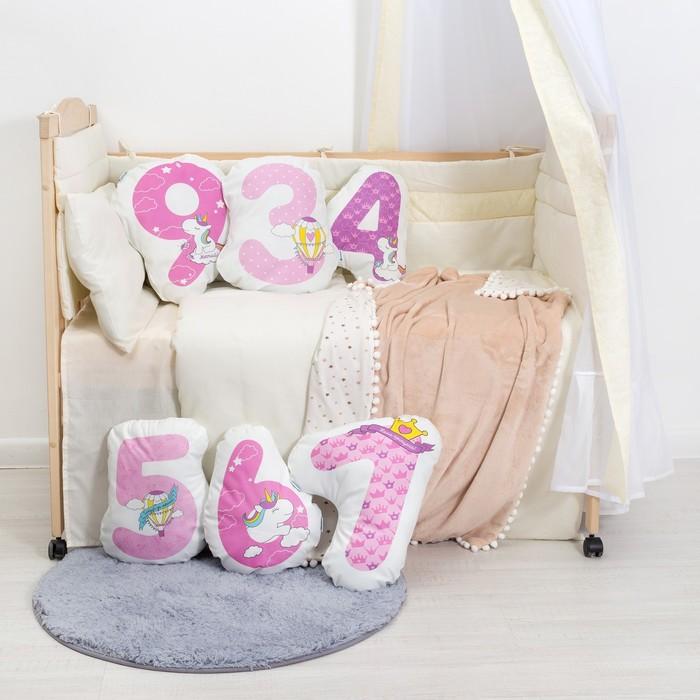 """Подушка """"Крошка Я"""" 9, 41х36 см, розовый, велюр, 100% п/э"""