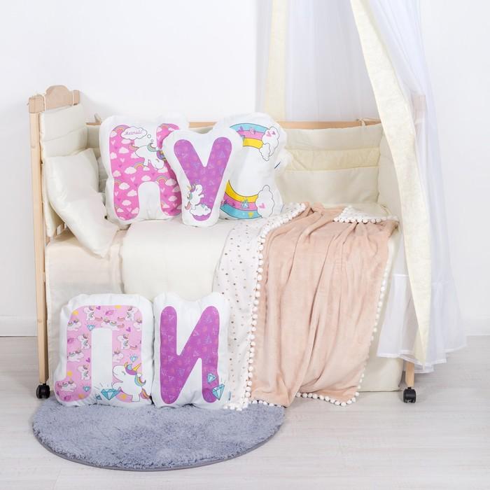 "Подушка ""Крошка Я"" У , 40х32 см, фиолетовый, велюр, 100% п/э"