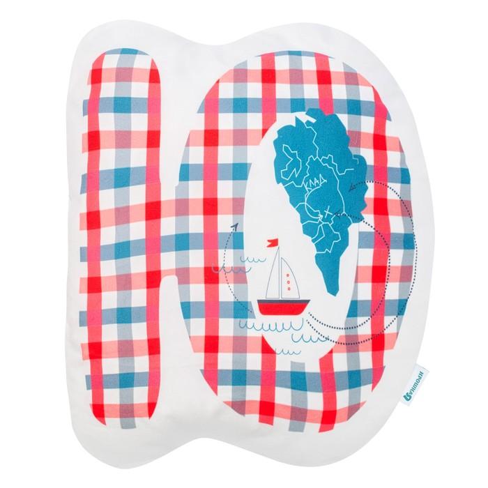 """Подушка """"Крошка Я"""" Ю, 40х46 см, синий, велюр, 100% п/э"""