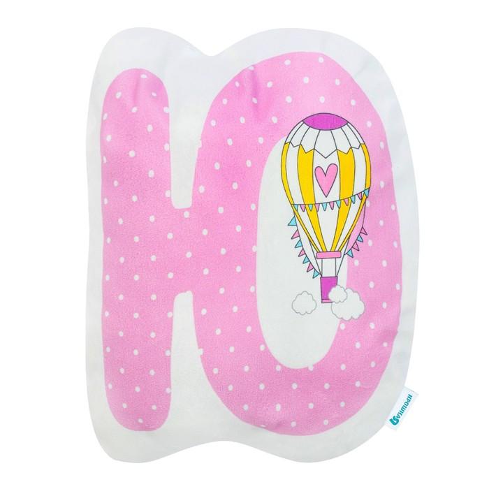 """Подушка """"Крошка Я"""" Ю, 40х46 см, розовый, велюр, 100% п/э"""