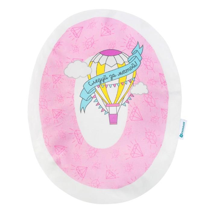 """Подушка """"Крошка Я"""" О 40х38 см, розовый, велюр, 100% п/э"""