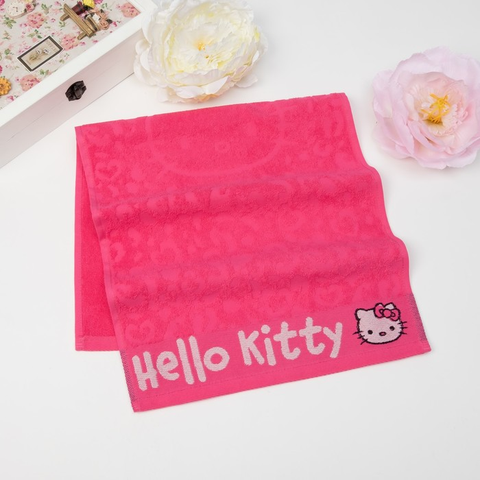 Полотенце детское Hello Kitty 35х70 см, цвет розовый 100% хлопок, 400 г/м²