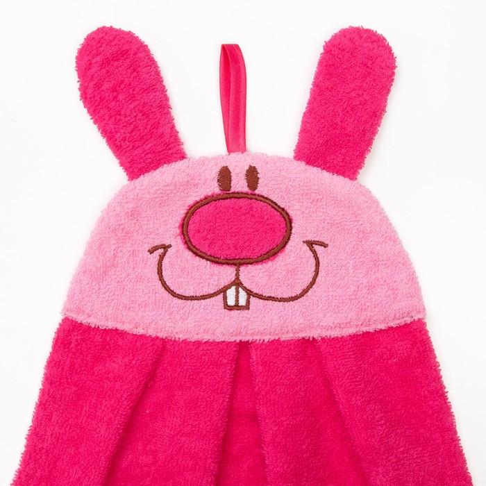 """Полотенце-рушник махровый """"Зайчик"""", 43×35 см, розовый, хл100%, 300 г/м²"""