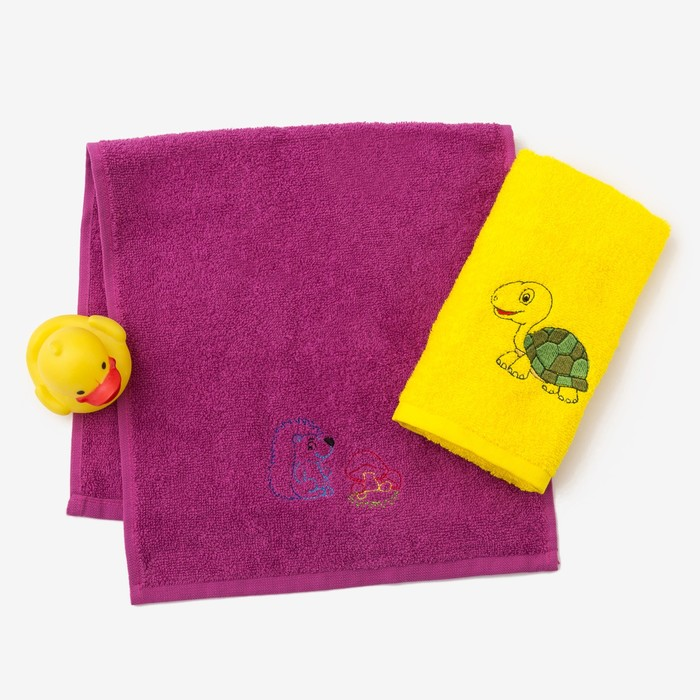 """Набор полотенец """"Черепаха и ёжик"""" 30*60 см-2 шт, желтый/фуксия"""
