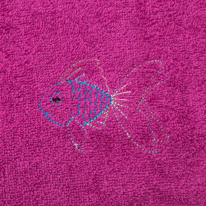 "Набор полотенец ""Черепаха и рыбка"" 30*60 см-2 шт, голубой/фуксия"