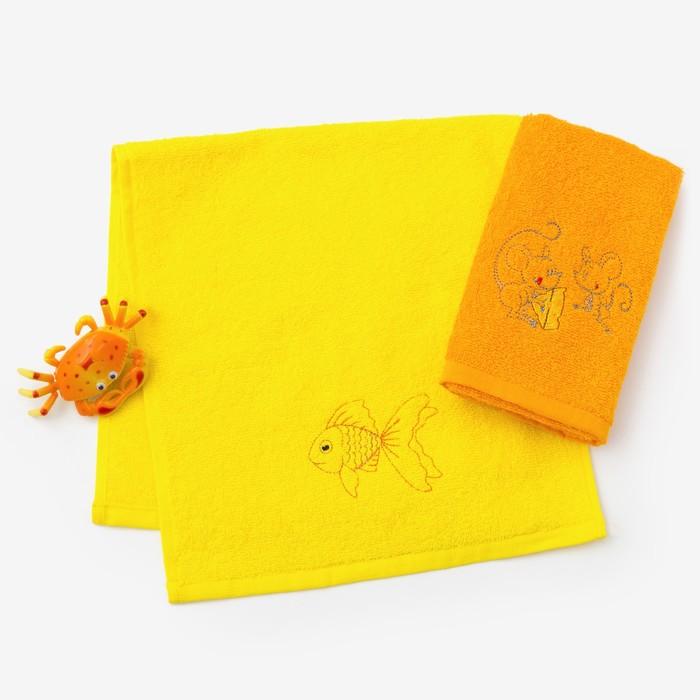 """Набор полотенец """"Рыбка и мышки"""" 30*60 см-2 шт, желтый/оранжевый"""