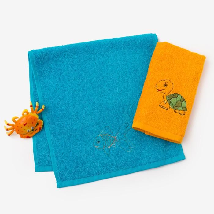 """Набор полотенец """"Черепаха и рыбка"""" 30*60 см-2 шт, голубой/оранжевый"""