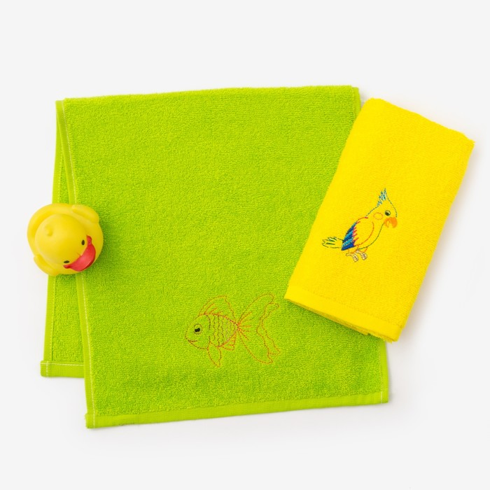 """Набор полотенец """"Попугай и рыбка"""" 30*60 см-2 шт, желтый/зеленый"""