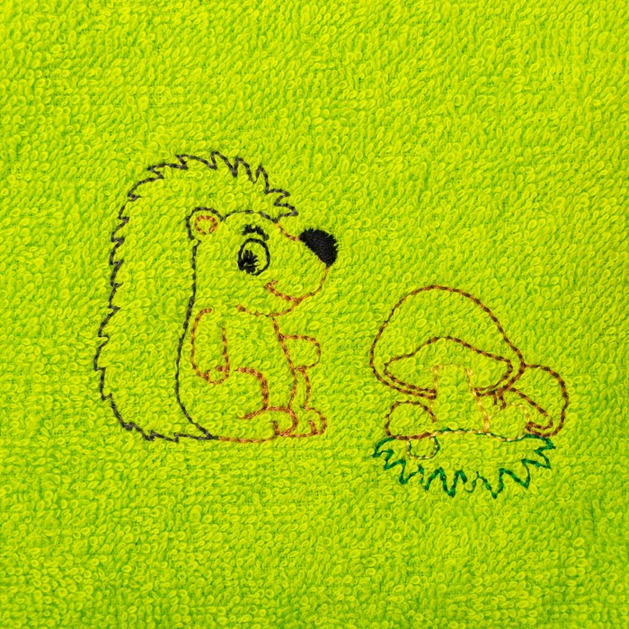 """Набор полотенец """"Рыбка и ёжик"""" 30*60 см-2 шт,оранжевый/зеленый"""
