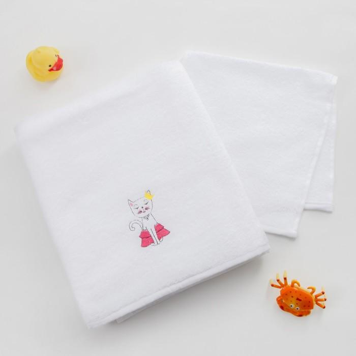 Набор полотенец детский Этелька «Киса» 30×60 см - 1шт., 100×150 см - 1 шт., 100% хлопок, 340 г/м²