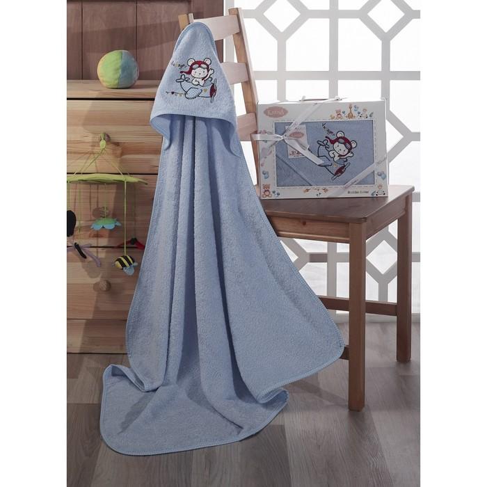 Полотенце-конверт Bambino-Samalot, размер 90х90 см, махра, голубой