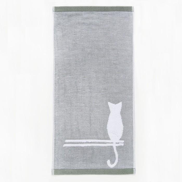 """Полотенце двухстороннее """"Этель"""" Кошка зелёный 26*50 см, 380 г/м2, 100% хлопок"""