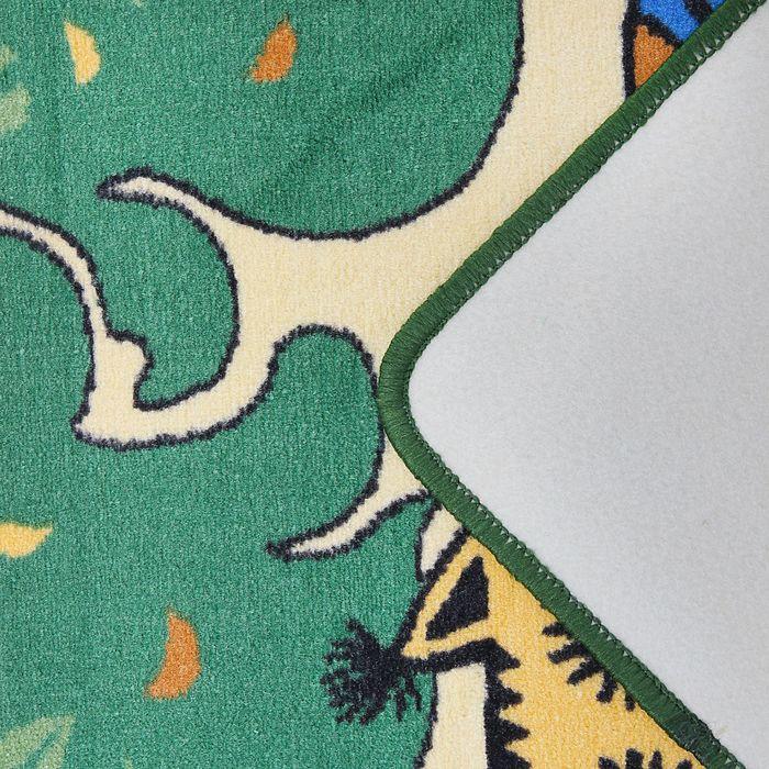 Ковер велюровый Совы, размер 80х120 см, цвет зеленый, полиамид