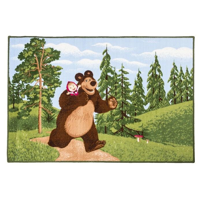 Ковер велюровый В лесу, размер 100х150 см, цвет зеленый, полиамид
