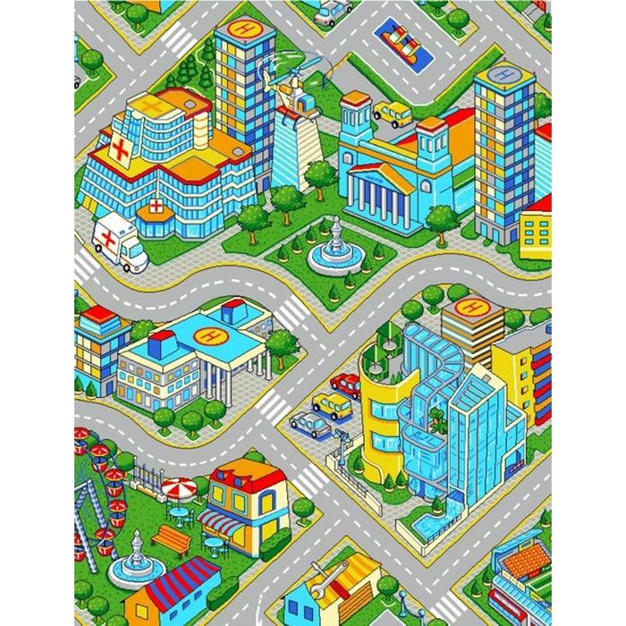Палас принт Мегаполис, размер 150х200 см, цвет серый, полиамид