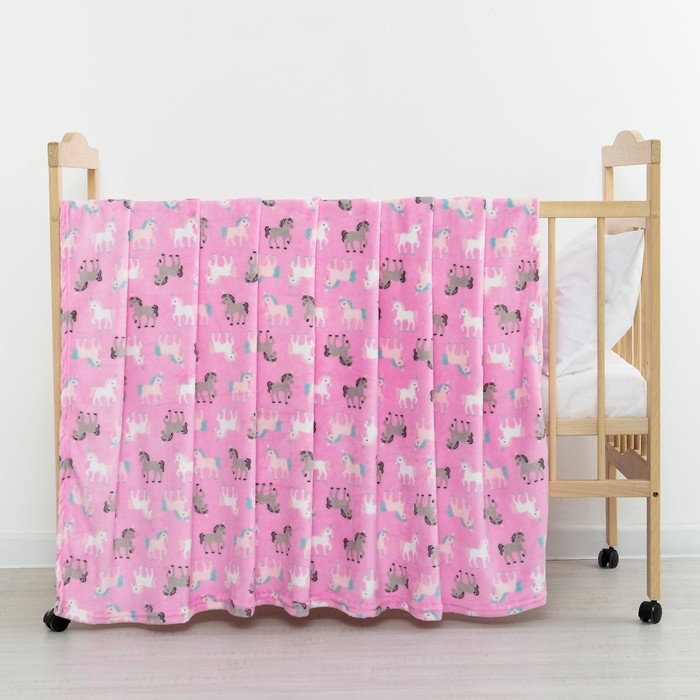 Плед «Единороги» цвет розовый 130х155 см, корал-флис, 230 г/м², 100% пэ