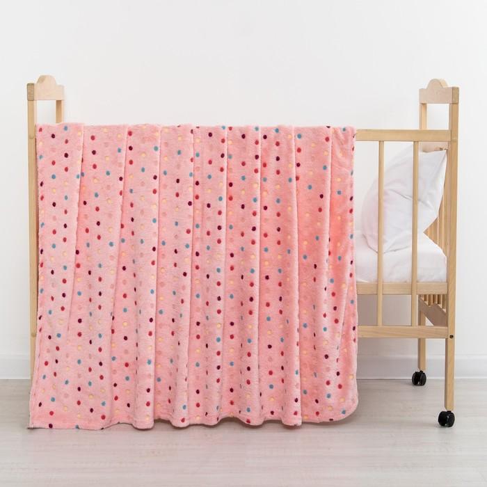 Плед «Горошек» цвет розовый 130х155 см, корал-флис, 230 г/м², 100% пэ
