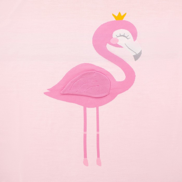 "Вязаный плед ""Крошка Я"" Фламинго, размер 90х90 см, цвет розовый"