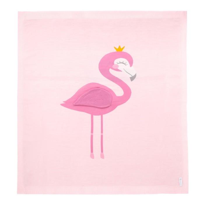 "Набор подарочный ""Фламинго"" вязаный плед 90х90 см, носки 0-12 мес"
