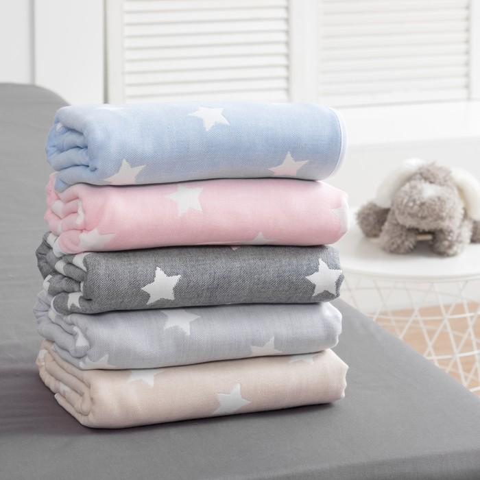 Одеяло детское «Крошка Я» Серые звёзды 140×200, жаккард, 100% хлопок
