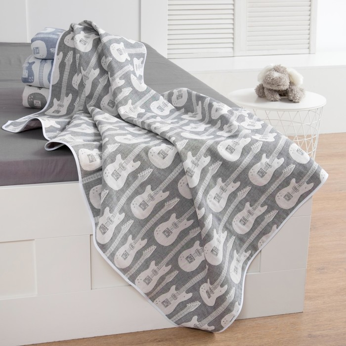 Одеяло детское «Крошка Я» Гитара 140×200 цвет серый, жаккард, 100% хлопок