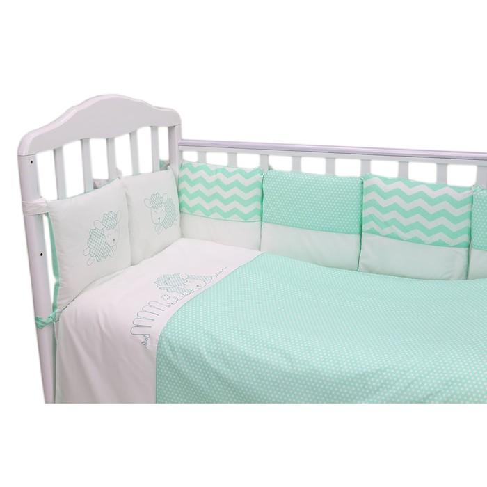 """Борт в кроватку """"Долли"""": подушки 30х30 см, цвет бирюзовый 170/7"""