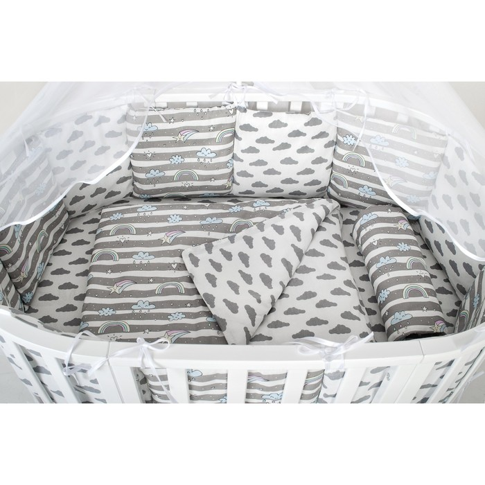 Борт в кроватку WB, 12 предметов, цвет серый, принт радуга